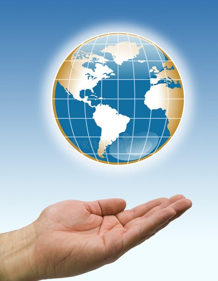 Handbraune Weltblaurückseite stock abbildung