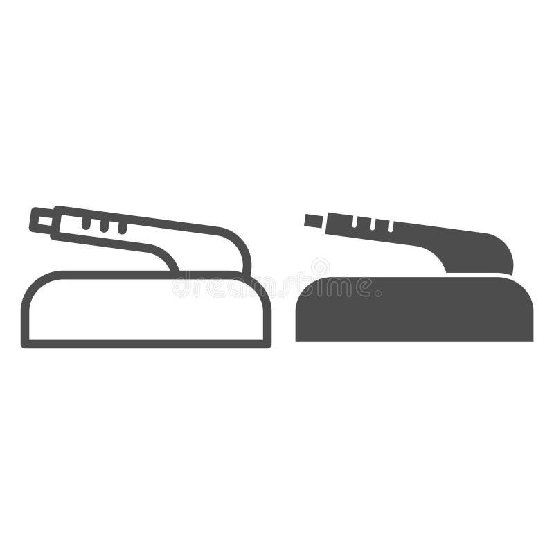 Handbremsleistung und Glyphikone Autoteil-Vektorillustration lokalisiert auf Wei? Kupplungsbremsentwurfsartentwurf vektor abbildung