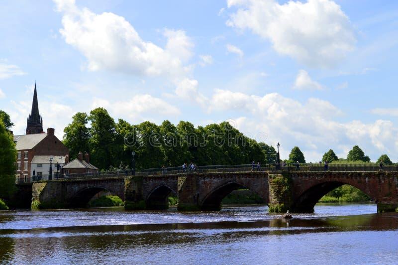 Handbridge sobre el río Dee en Chester imagen de archivo libre de regalías