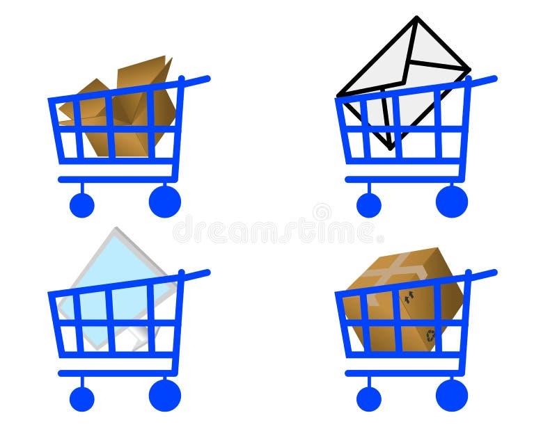 Handcart e producto ilustração royalty free
