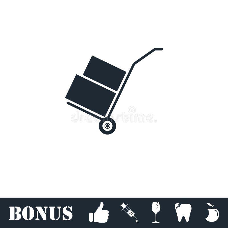 Handcart ikony mieszkanie royalty ilustracja