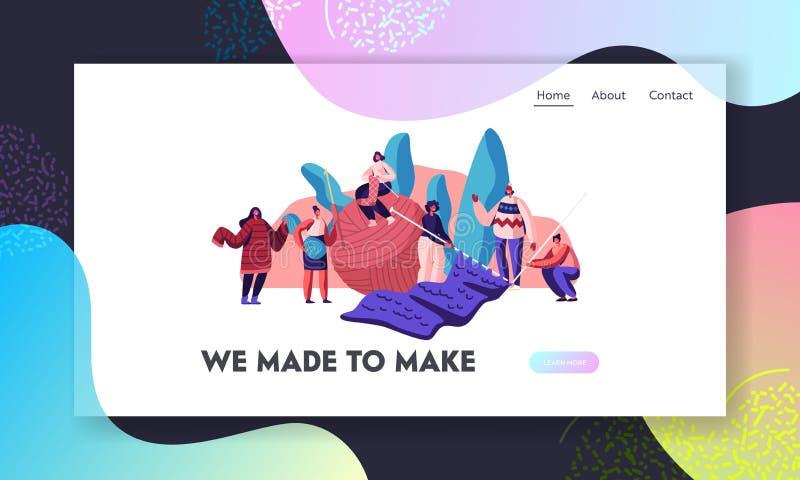 Handcraft hobby strony internetowej lądowania stronę Malutcy Żeńscy charaktery Knitwork z Ogromnymi Dziewiarskimi igłami i gejtaw royalty ilustracja