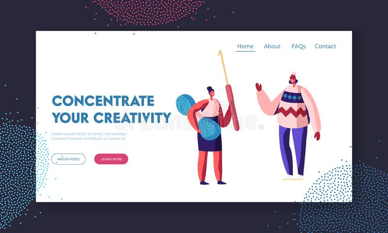 Handcraft Knitting Hobby Website Landing Page. Woman Holding Thread and Crochet Hook for Needlework. Girl Wearing Handcrafted royalty free illustration