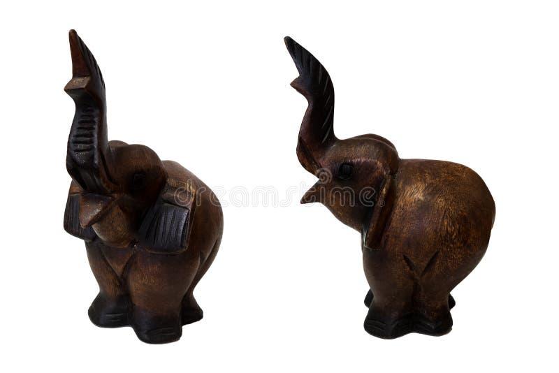 Handcraft l'éléphant en bois d'isolement image libre de droits