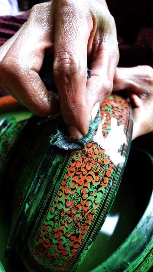 handcraft lacquermyanmar ware royaltyfria foton