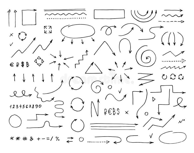 Handcrafted элементы Нарисованные рукой установленные стрелки вектора бесплатная иллюстрация