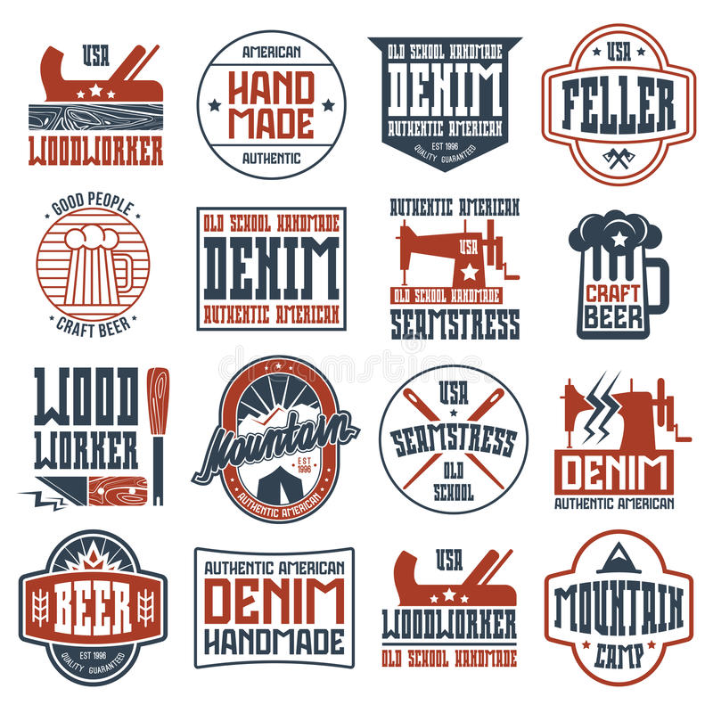 Handcrafted badges in retro style royalty free illustration