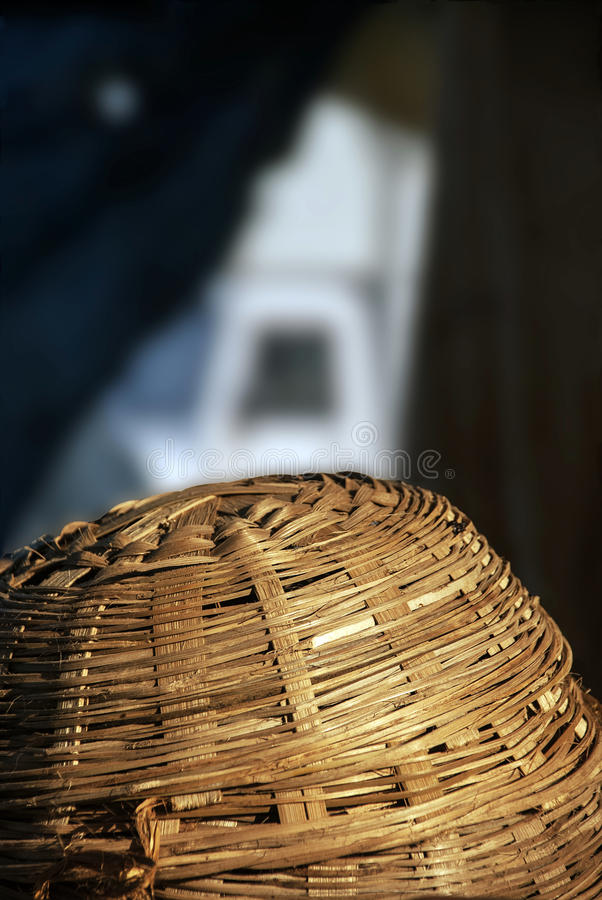 Bamboo basket. Handcrafted bamboo basket upside down stock photos