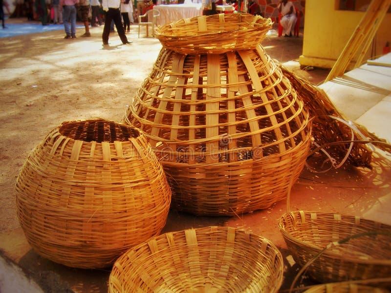 Handcrafted baskets at Dahanu. Maharashtra, ibdia, india, indian, art, handmade, artistic stock image
