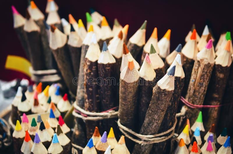 Handcrafted coloured ołówek robi z gałąź zdjęcie royalty free