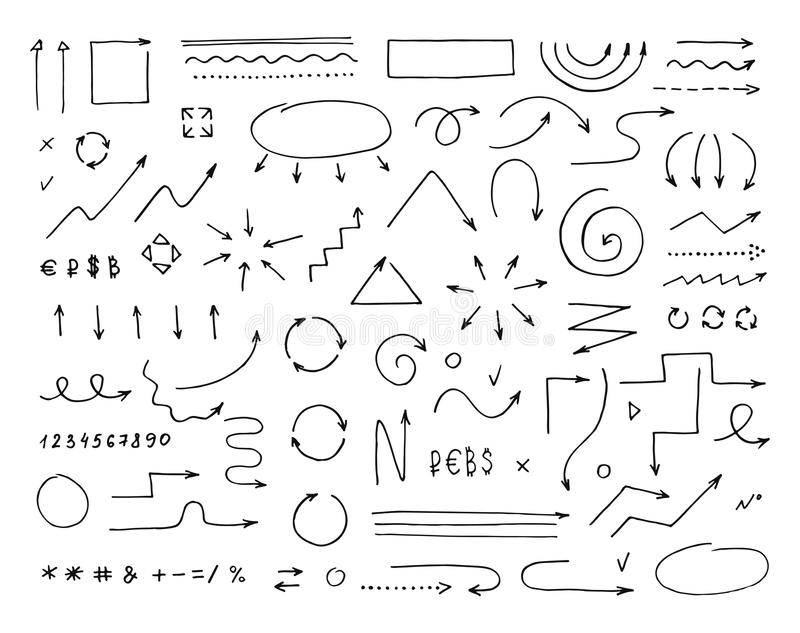 Handcrafted elements. Hand drawn vector arrows set royalty free illustration