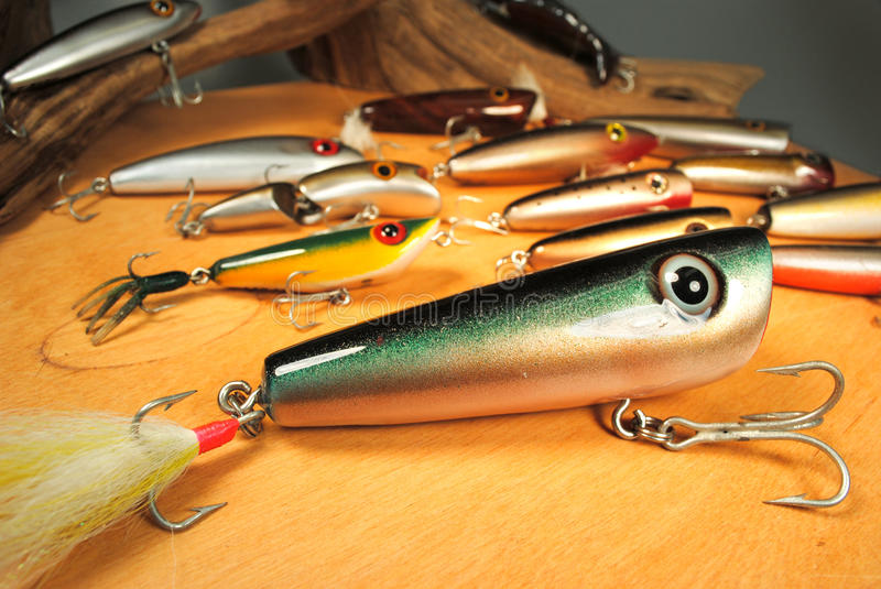 Handcrafted fishing lures. For trout and redfish stock images