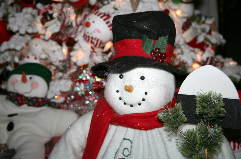 handcrafted flott snowman royaltyfria foton