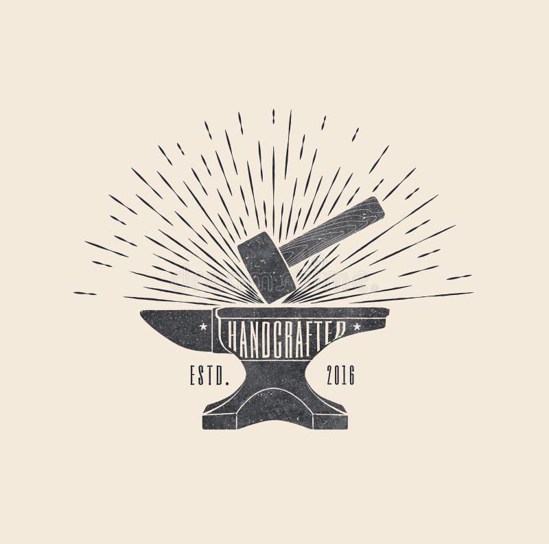 handcrafted Le vintage a dénommé l'illustration de vecteur du marteau et de l'enclume photo libre de droits