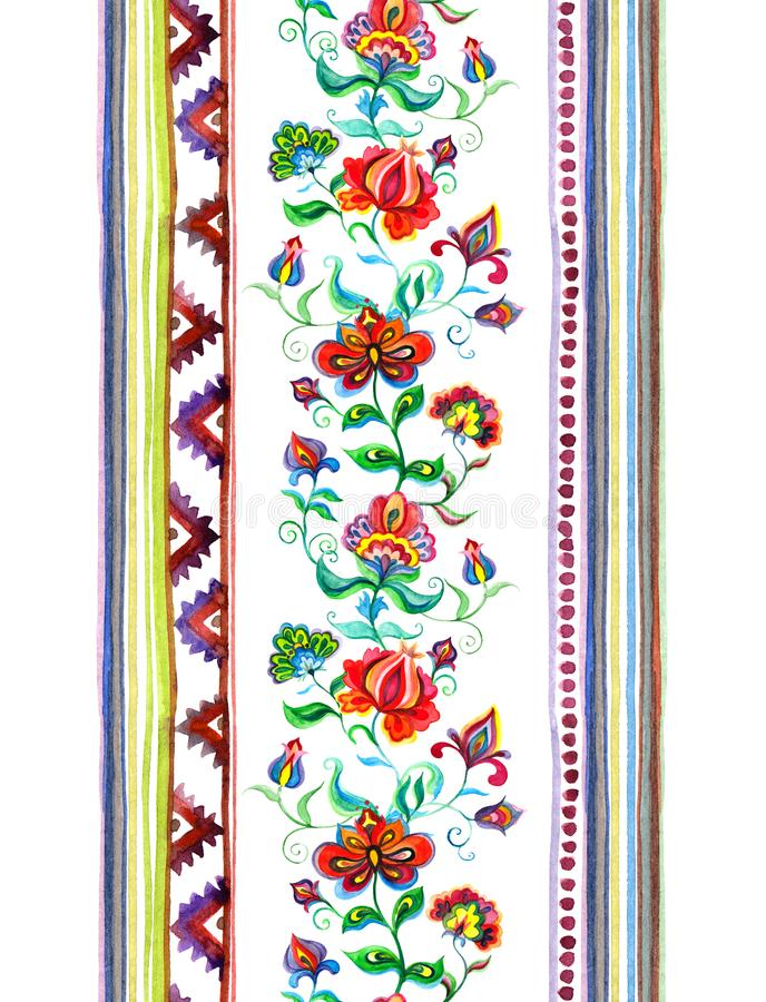 Handcrafted motifs - repeating floral stripe with embroidery Eastern european flowers, strips. Watercolor royalty free stock photography