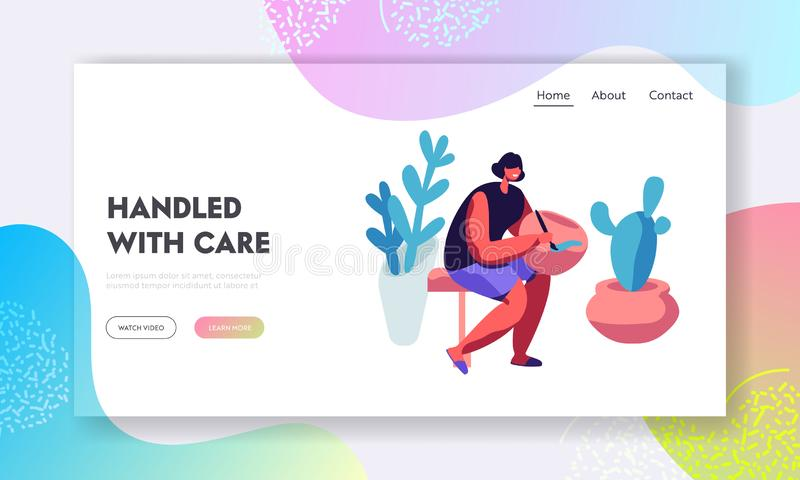 Handcrafted Pottery Master Class Website Landing Page. Woman Painting Pot, Earthenware, Crockery. Girl Artist Decorating royalty free illustration