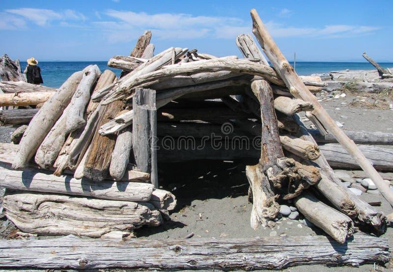 Handcrafted windbreak driftwood на пляже стоковое изображение rf