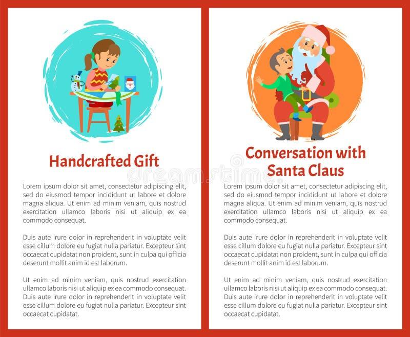 Handcraftedgift, Gesprek met Santa Vector royalty-vrije illustratie