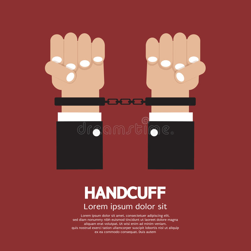 Handcuff. Human hands handcuffed or chained Illustration royalty free illustration