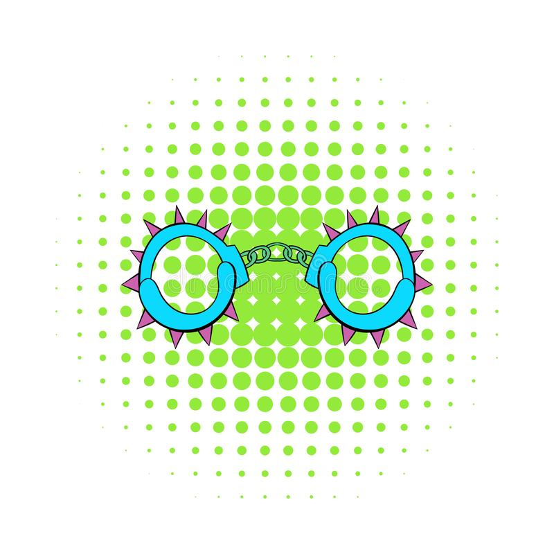 Handcuff icon in comics style. On a white background stock illustration