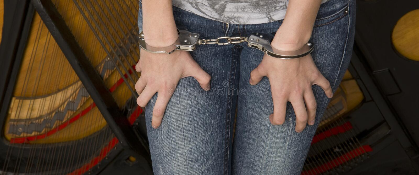Download Female Wrists Waist Handcuffed Locked Restrained Stock Image - Image: 25085619