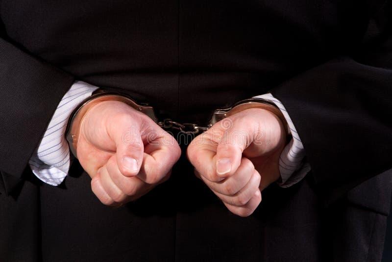 Handcuffed Man stock image