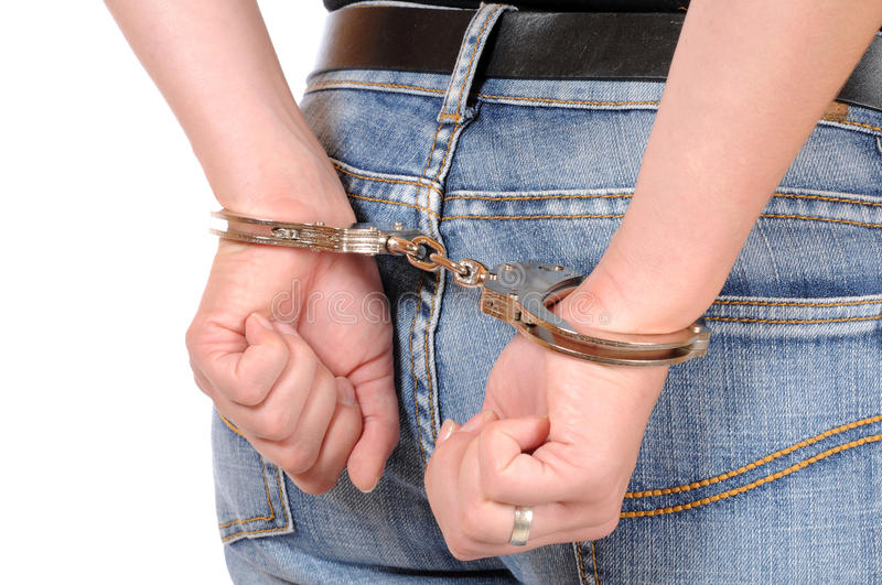 In handcuffs royalty free stock image