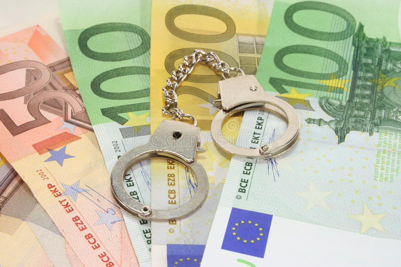 Download Handcuffs on euro notes stock image. Image of arrested - 18288077
