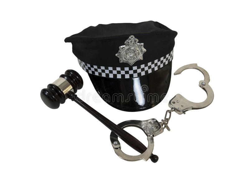 Handcuffs Gavel and Police Hat stock photo