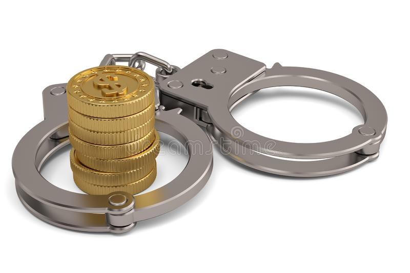 Handcuffs and gold coins isolated on white background 3D illustration.  stock illustration