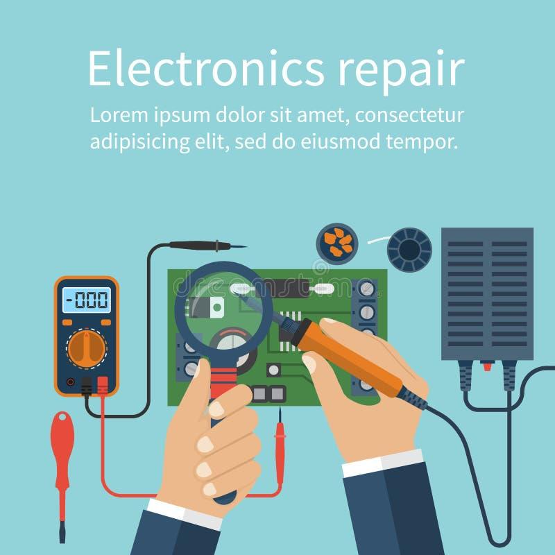 electronics repair tech repairs stock vector illustration  hand fix