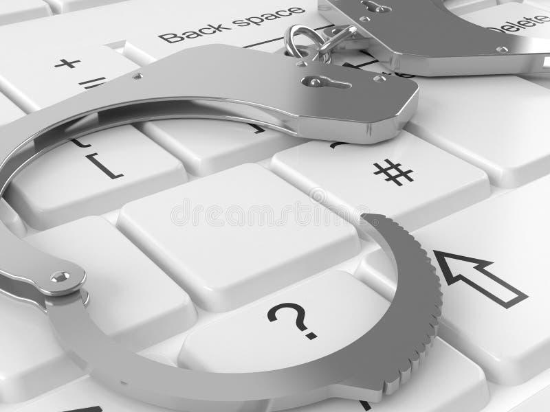 Handcuffs lying on computer keyboard. 3d vector illustration