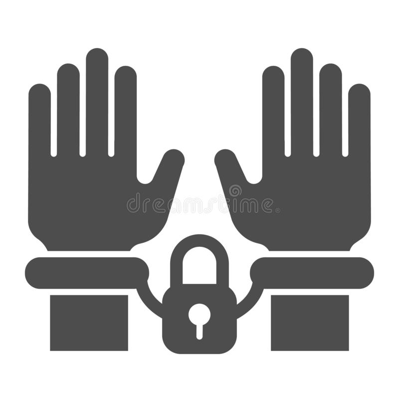 Handcuffs op handen stevig pictogram Arrestatie vectordieillustratie op wit wordt ge?soleerd Het misdadige die ontwerp van de gly vector illustratie