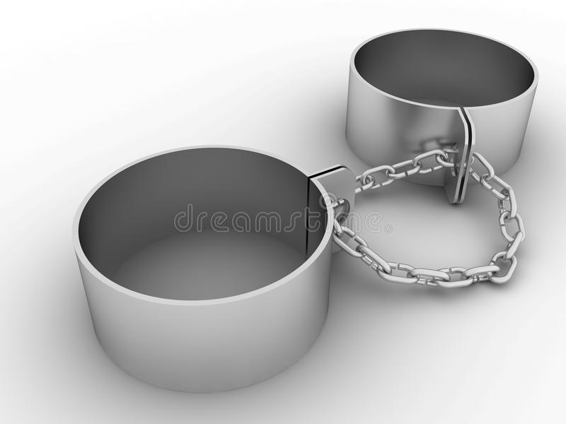 """Handcuffs and steel chain â""""–2. Handcuffs and steel chain on a white background â""""–2 stock illustration"""
