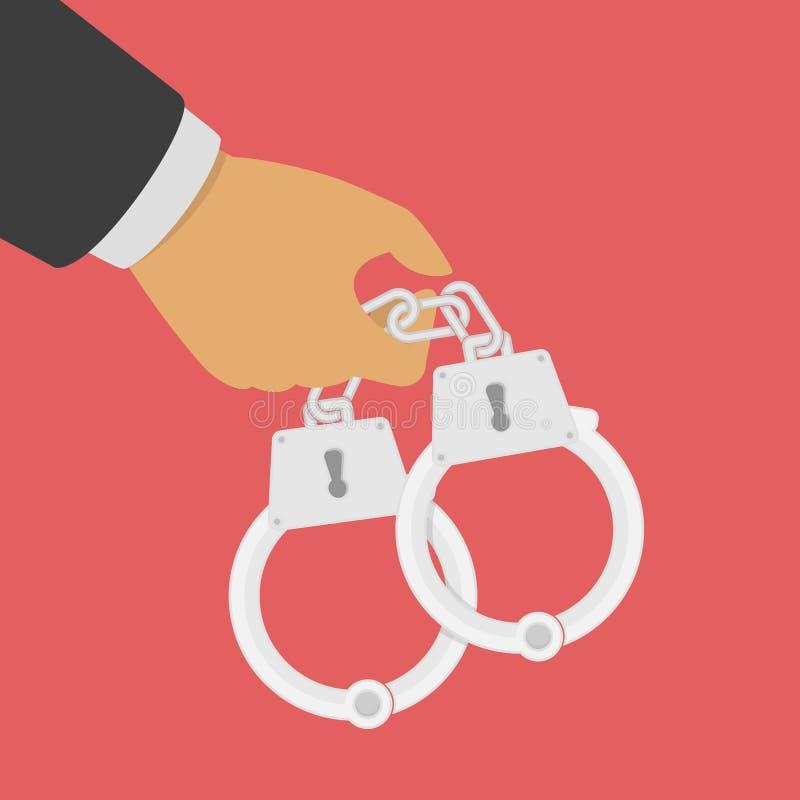 Handcuffs in zijn handen royalty-vrije illustratie