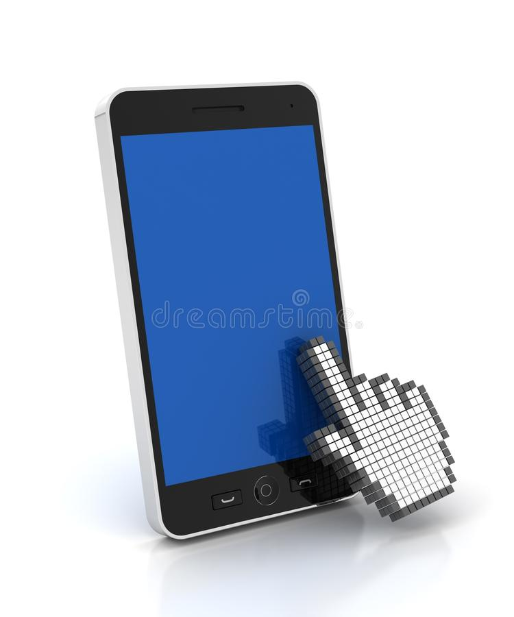 Handcurseur die een mobiele telefoon met copyspace klikken vector illustratie