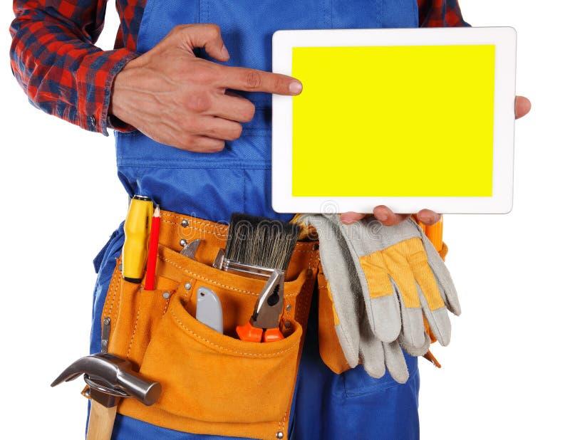 Handdiearbeidersmens op witte achtergrond wordt geïsoleerd royalty-vrije stock foto