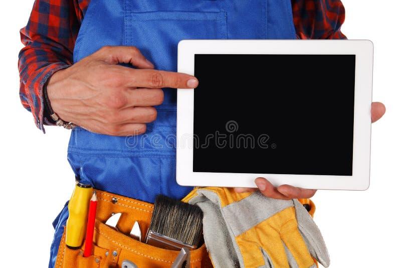Handdiearbeidersmens op witte achtergrond wordt geïsoleerd royalty-vrije stock fotografie