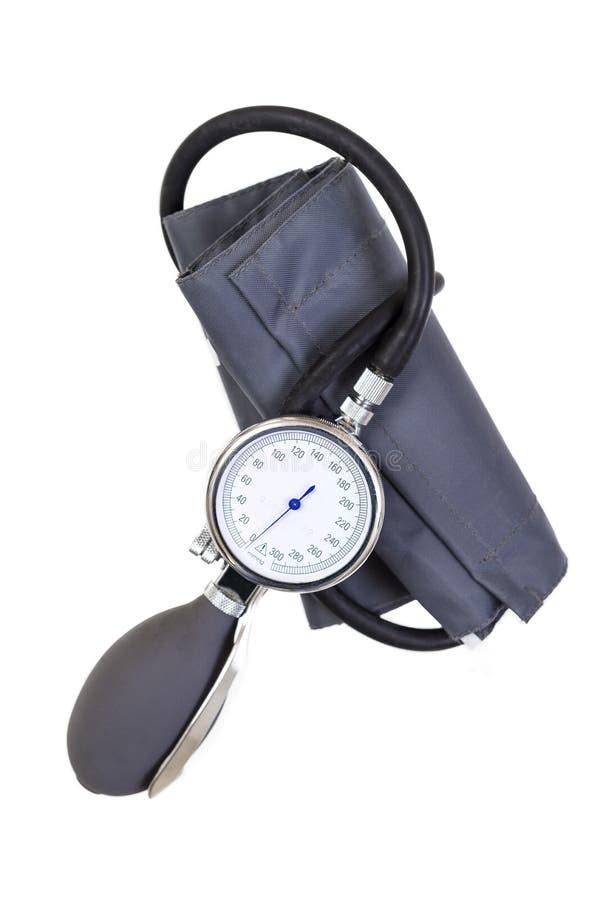 Handdiebloeddruksphygmomanometer op witte achtergrond wordt geïsoleerd stock afbeelding