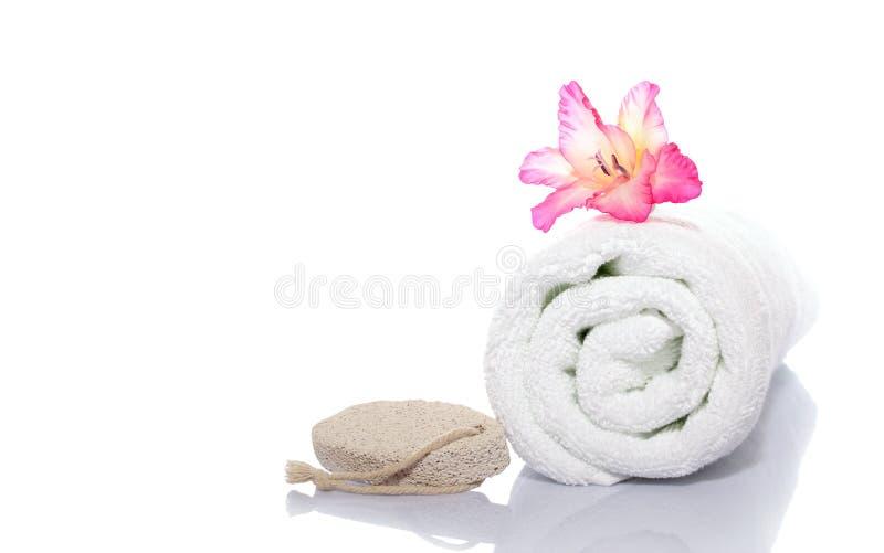 Handdoek, gladiola en puim stock fotografie