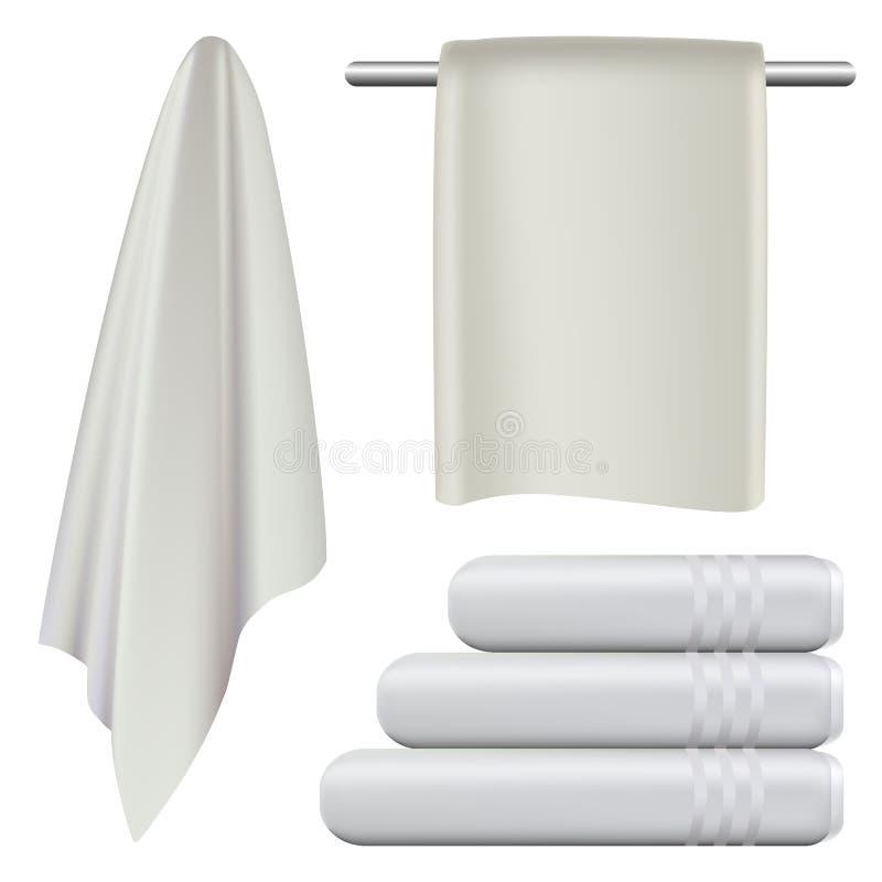 Handdoek het hangen het modelreeks van het kuuroordbad, realistische stijl royalty-vrije illustratie