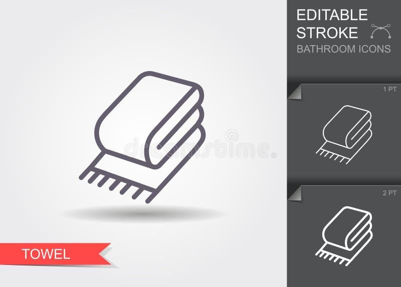 handdoek Lijnpictogram met editable slag met schaduw stock illustratie