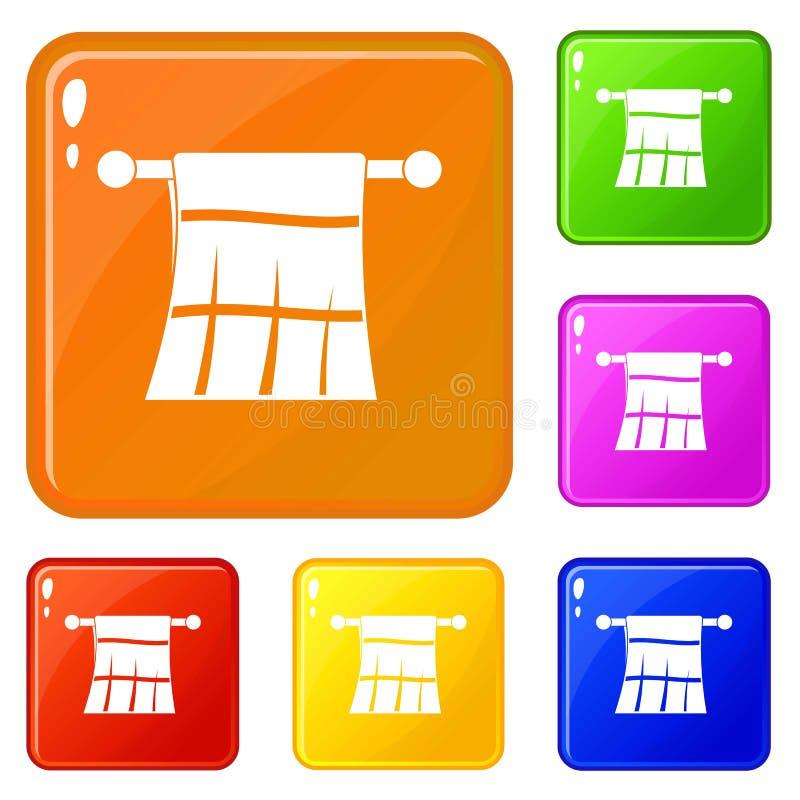 Handdoek op een hangerpictogrammen geplaatst vectorkleur vector illustratie