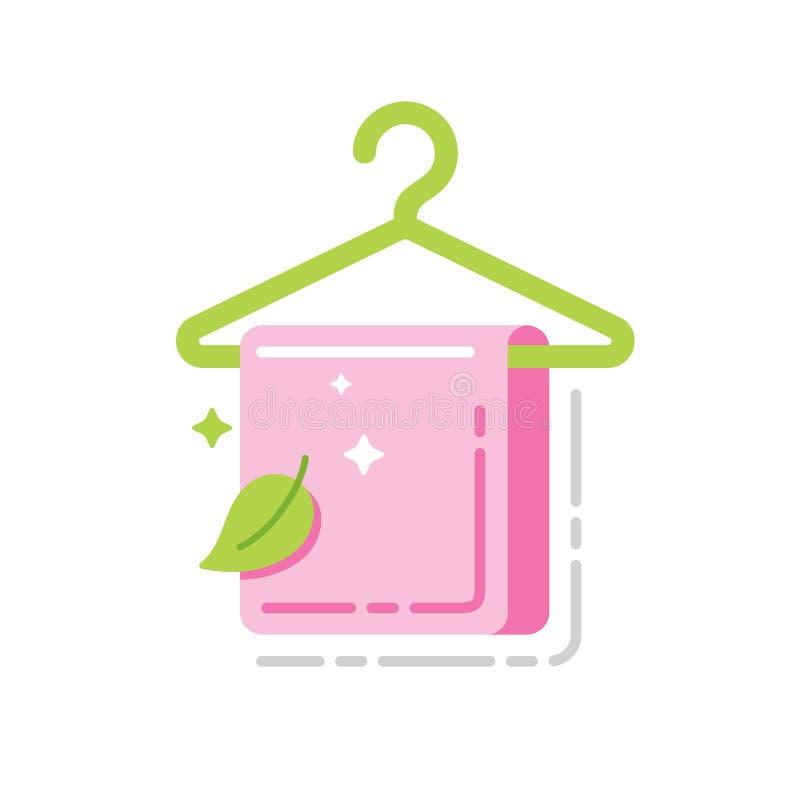 Handdoek op een pictogram van de hanger vlak kleur Teken voor webpagina, mobiele toepassing, banner Ge?soleerd malplaatje vector illustratie