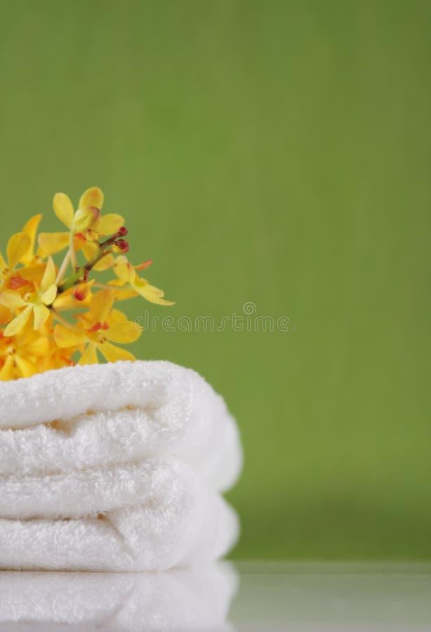Handdoek op groene achtergronden royalty-vrije stock afbeeldingen