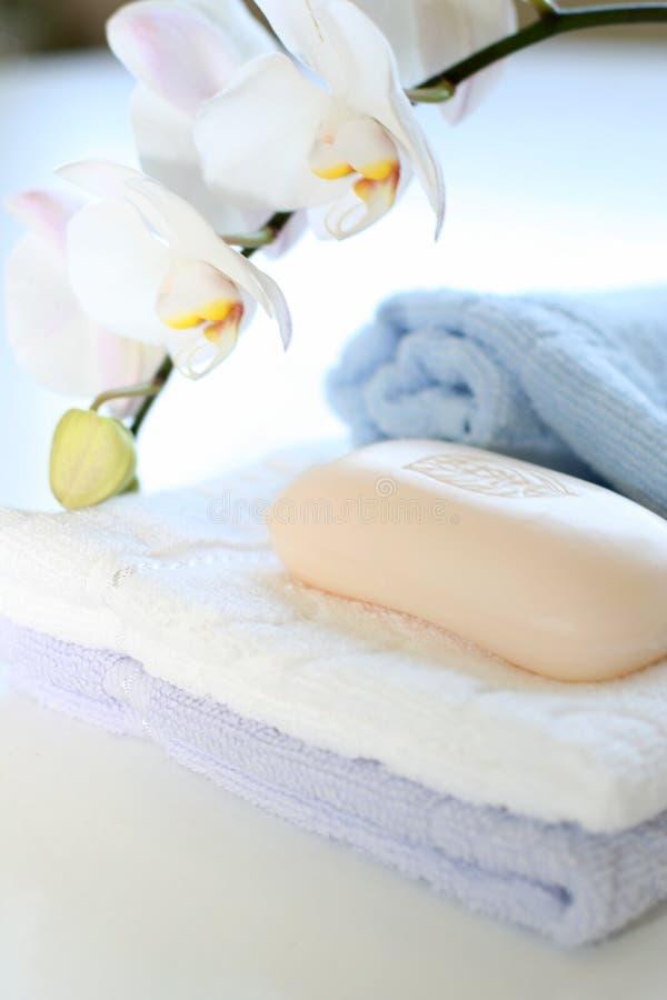 Handdoeken en zeep royalty-vrije stock afbeelding