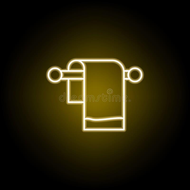 handdoekpictogram in neonstijl De tekens en de symbolen kunnen voor Web, embleem, mobiele toepassing, UI, UX worden gebruikt royalty-vrije illustratie
