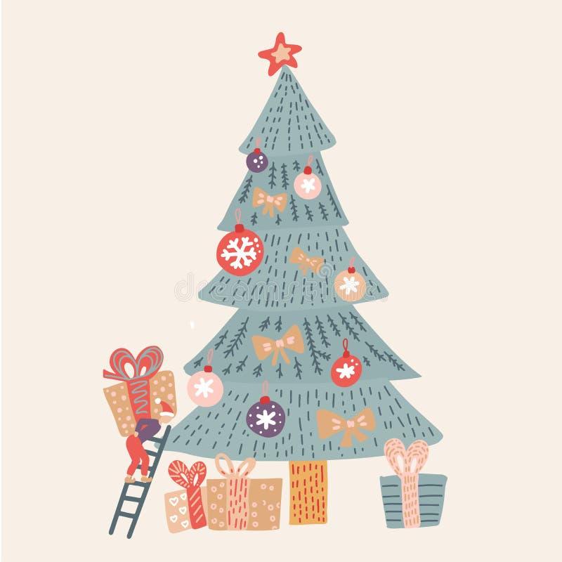 Handdragen vektorrolig Tjuvel - Kartoonkort för jultid med små bokstäver som dekorerar julgranen och överraskningsgåva vektor illustrationer