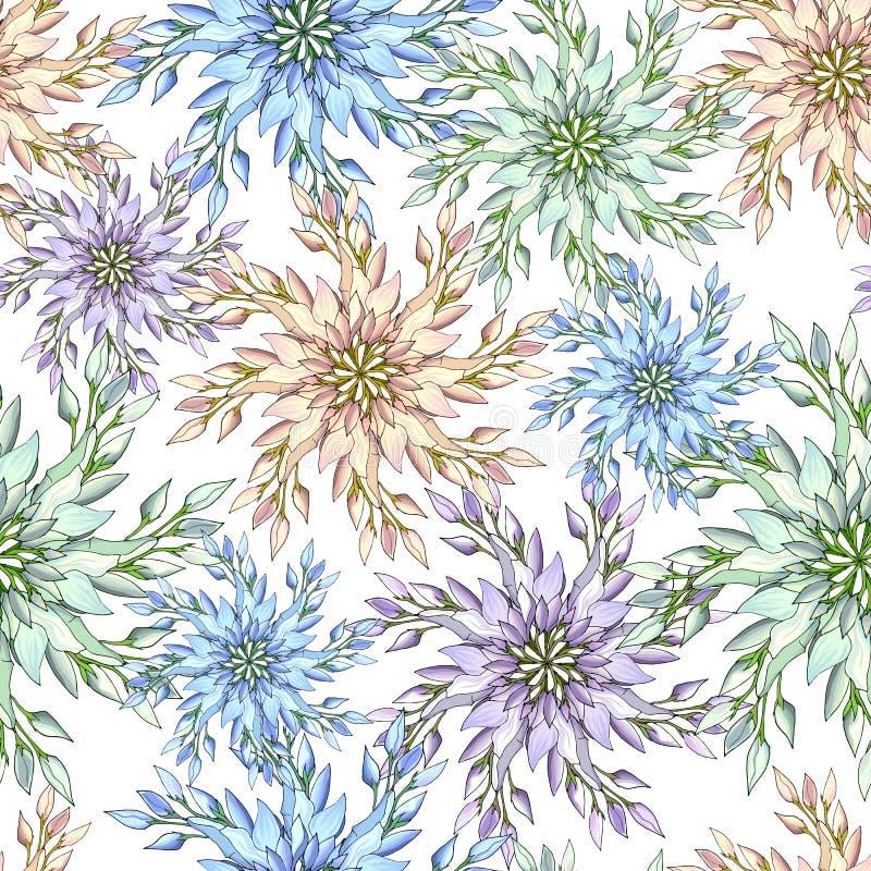 Handdragna blommor med flera färger Fjäderkonturblommor för att dekorera helgdagar på papper, kort, hälsningar Underordnade vekto stock illustrationer