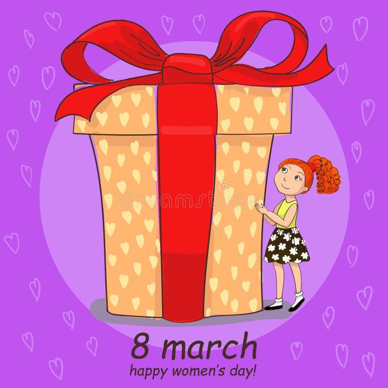8 handdragplåstret för marsch med flickan håller ögonen på på den stora gåvan vektor illustrationer